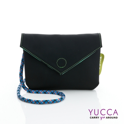 YUCCA - 防潑水尼龍磁扣側背包-黑色 D012201