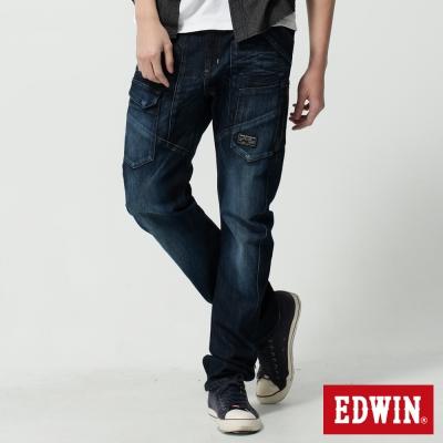 EDWIN-窄直筒E-F-貼袋機能3D牛仔褲-男-酵洗藍