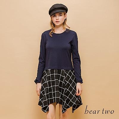 beartwo 拼接不規則格紋連身裙(二色)