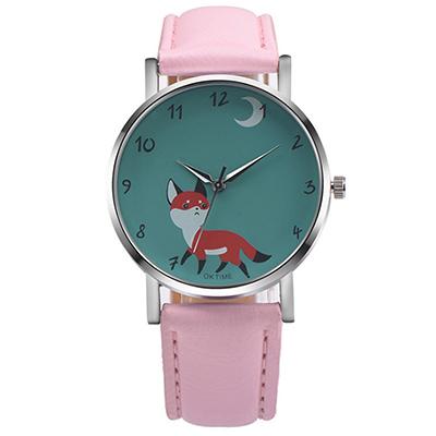 Watch-123 狸貓太子-簡約時尚可愛俏皮小狐狸手錶-粉色/37mm