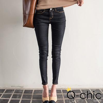 正韓 激瘦微光澤窄管牛仔褲 (黑色)-Q-chic