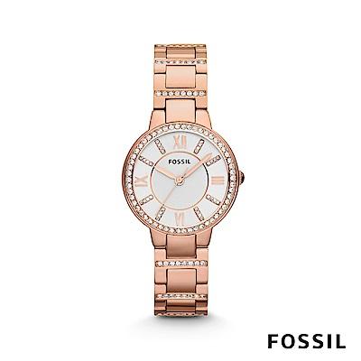 FOSSIL VIRGINIA 鑲鑽不鏽鋼女錶-玫瑰金 約30mm ES3284