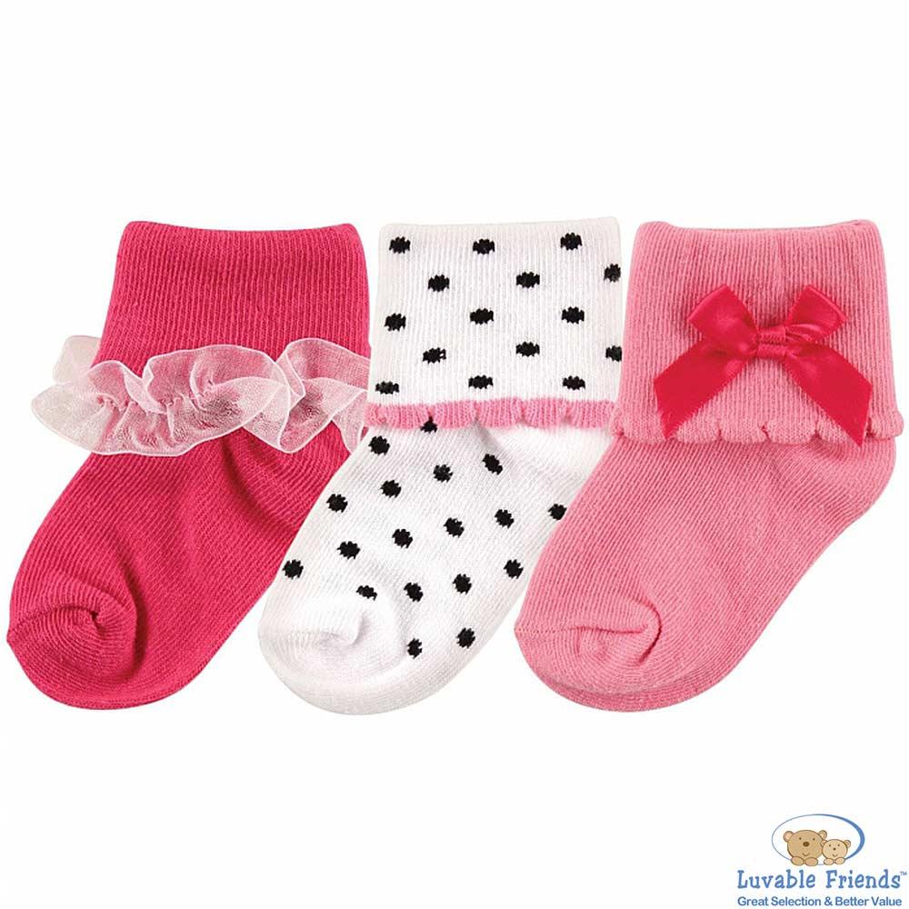 Luvable Friends 紅桃白點款嬰兒襪童襪三件組