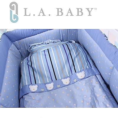 (美國 L.A. Baby ) 點點暖心熊純棉七件組-L(藍色 粉色)