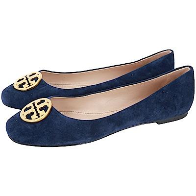 TORY BURCH Chelsea 黃銅標誌麂皮娃娃鞋(深藍色)