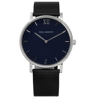 PAUL HEWITT 德國經典船錨米蘭編織不鏽鋼手錶-深藍x鍍黑 /39mm
