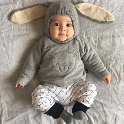 Huxbaby 澳洲 淺灰小熊縫線有機棉長袖上衣