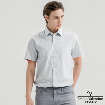 Emilio Valentino范倫提諾英倫簡約短袖襯衫-黃藍條紋