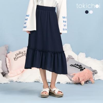 東京著衣 雪紡壓褶荷葉長裙-S.M(共二色)