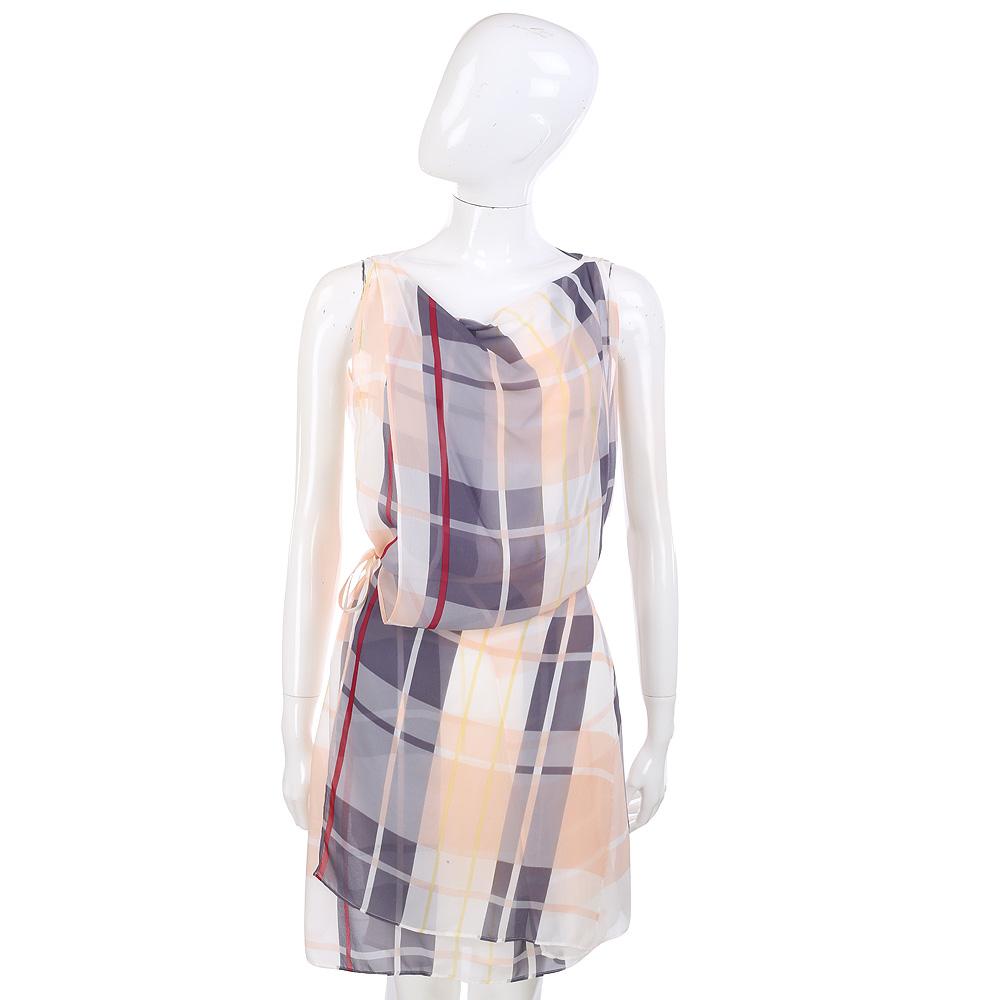 SEE BY CHLOE 米灰色格紋拼接側綁帶雪紡無袖洋裝(附內裡) @ Y!購物