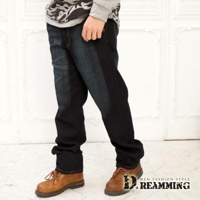 Dreamming 美式車線刷色伸縮中直筒牛仔褲