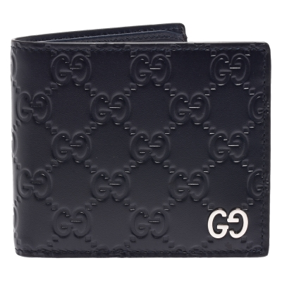 GUCCI 經典Signature系列金屬雙G LOGO牛皮GG壓紋對摺短夾(藏藍- 8 卡)