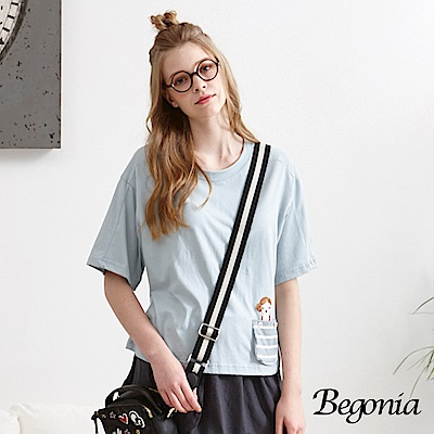 Begonia 電繡女孩口袋短版柔棉上衣(共二色)