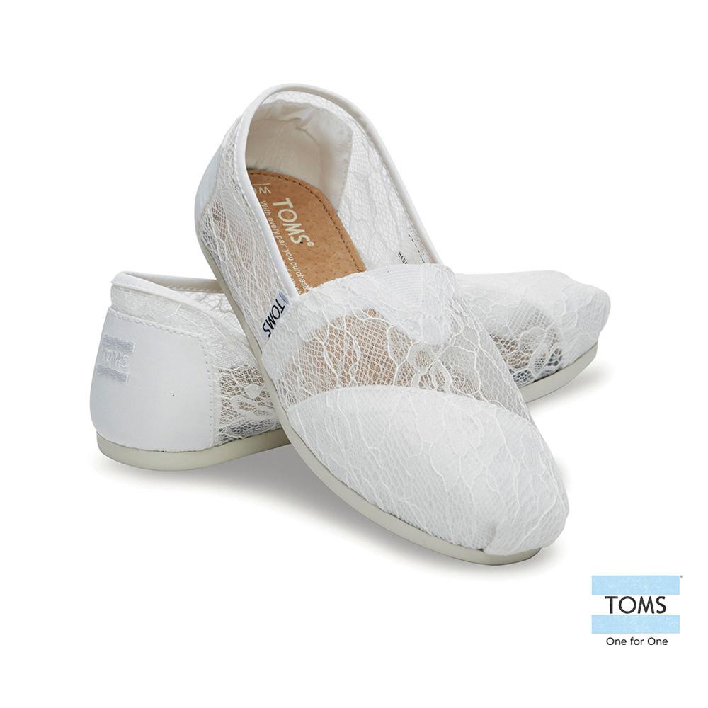TOMS 經典雕花蕾絲懶人鞋-女款(白)