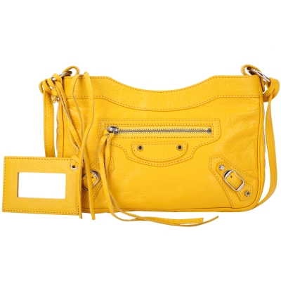 BALENCIAGA HIP 經典銀釦斜背機車包(黃色)