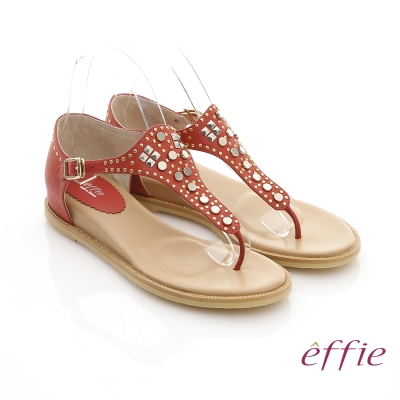 effie 美型夾芯 真皮金屬鉚釘T字涼鞋 正紅