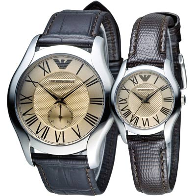 EMPORIO ARMANI 羅馬情人經典對錶-咖啡/43+27mm