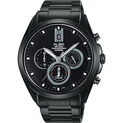 ALBA 東京日系三眼計時腕錶(AT3B07X1)-鍍黑/42mm