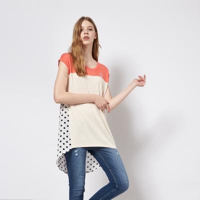 波點印花拼接紡紗時尚百搭造型長版上衣 兩色