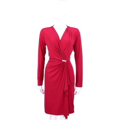 MICHAEL KORS 皺褶V領長袖洋裝(桃紅色)