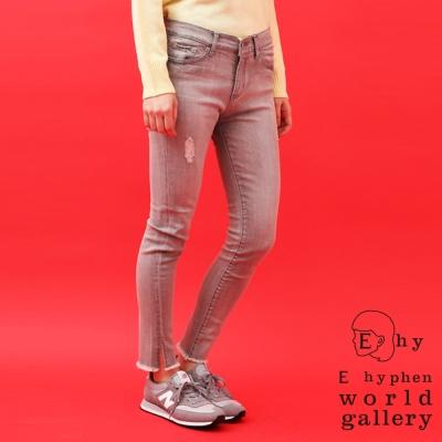 E-hyphen-仿舊刷破下擺抽鬚窄管牛仔褲
