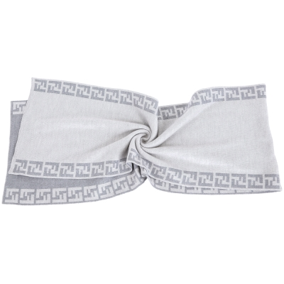 FENDI 灰色雙F織紋滾邊羊毛圍巾(100%WOOL)