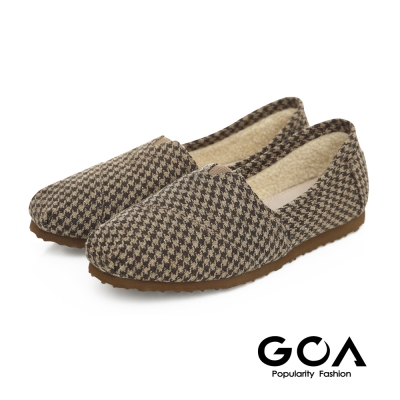 GOA 格紋毛呢內刷毛輕便鞋-咖啡格紋