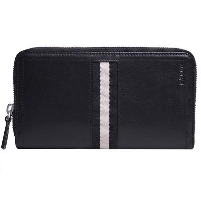 BALLY TASYO 經典黑白條紋織帶皮革拉鍊機能長夾(黑)