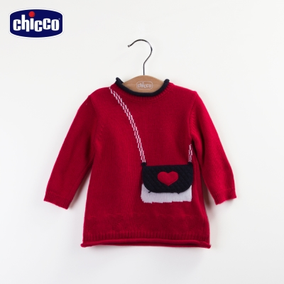 chicco學院風針織洋裝-紅(12-24個月)