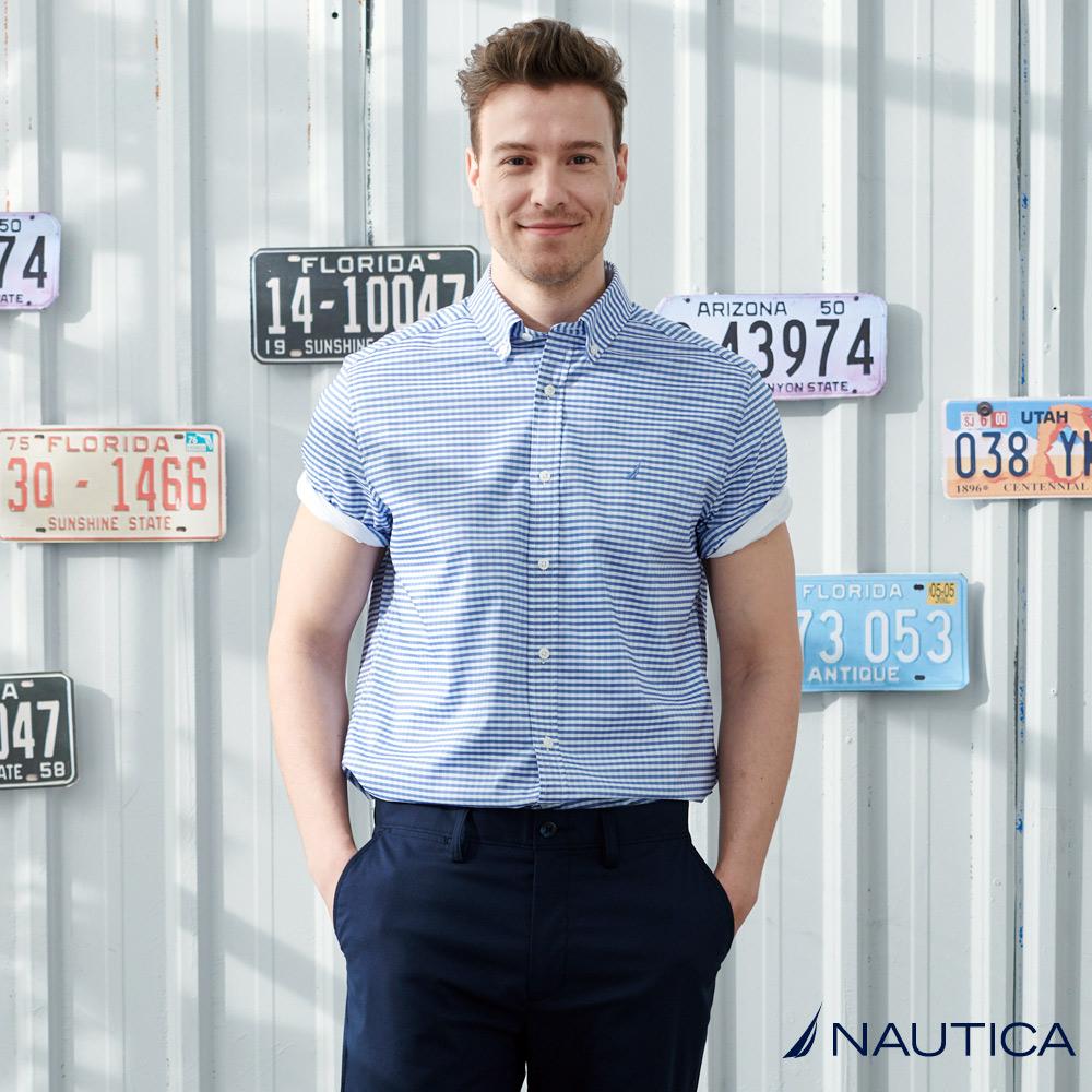 Nautica清新雙色藍格短袖襯衫-藍格