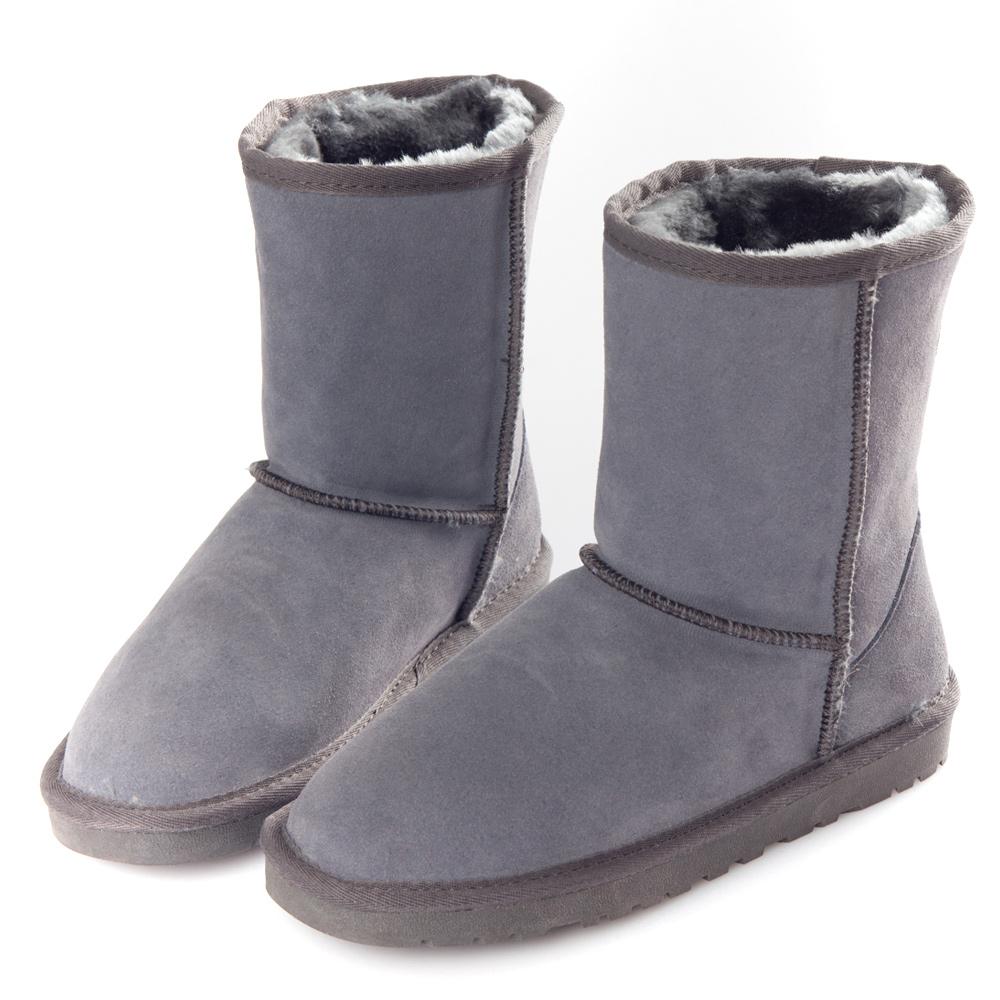 G.Ms.  2WAY反摺-素面百搭牛麂皮舖毛中筒雪靴-質感灰