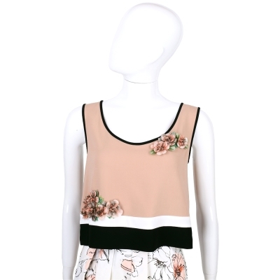 ALBERTA FERRETTI 深粉色拼接花朵飾無袖上衣