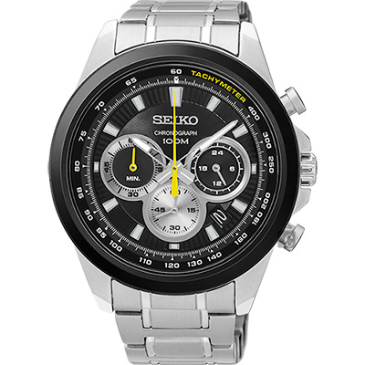 SEIKO精工 CS 破風競速計時腕錶(SSB247P1)-黑/45mm