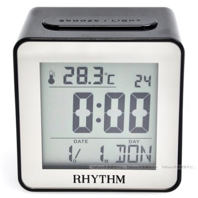 RHYTHM日本麗聲 簡約時尚LED夜燈液晶電子鬧鐘(時尚黑)/7cm
