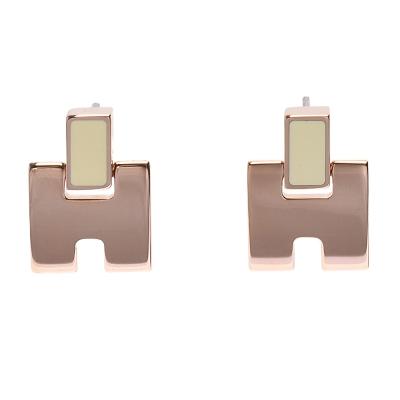 HERMES 經典Eileen系列弧面寬H LOGO琺瑯針式耳環 (米白X玫瑰金)