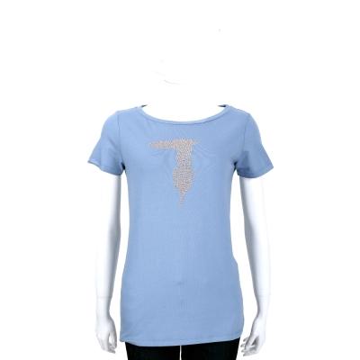 TRUSSARDI 藍灰色品牌LOGO貼飾棉質短袖T恤