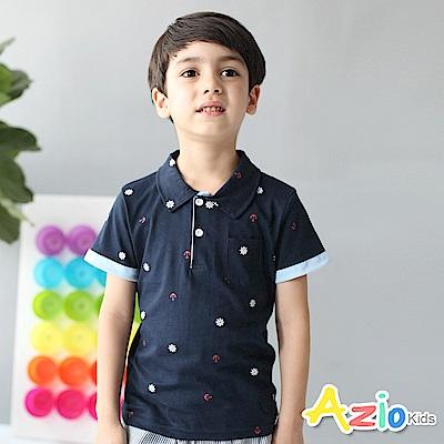 Azio Kids 上衣 船錨單口袋反褶袖短POLO衫(深藍)