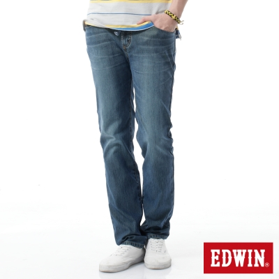 EDWIN 中直筒 迦績褲全黑腰頭牛仔褲-男-石洗綠