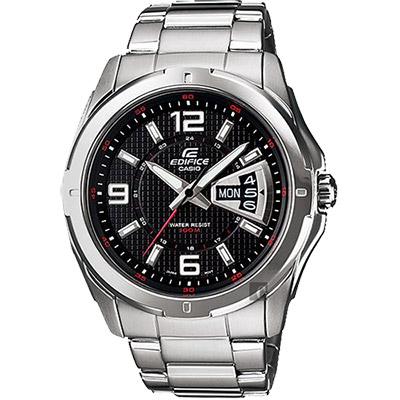 CASIO 卡西歐 EDIFICE 三針系列星期日期手錶-黑x銀/49mm