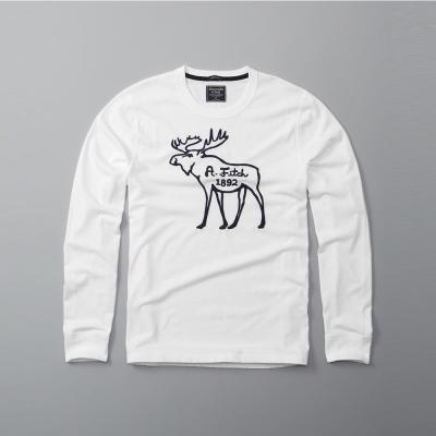 A&F 經典刺繡大麋鹿設計長袖T恤-白色 AF Abercrombie