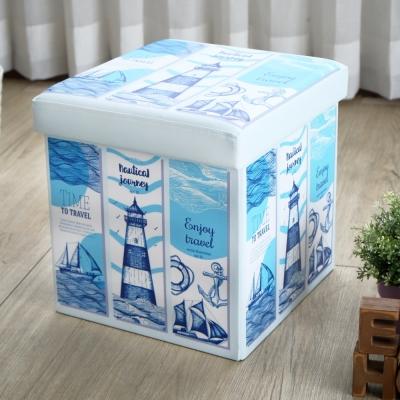 EASY HOME-耐重可摺疊收納椅凳-海之旅 (38x38x38cm)