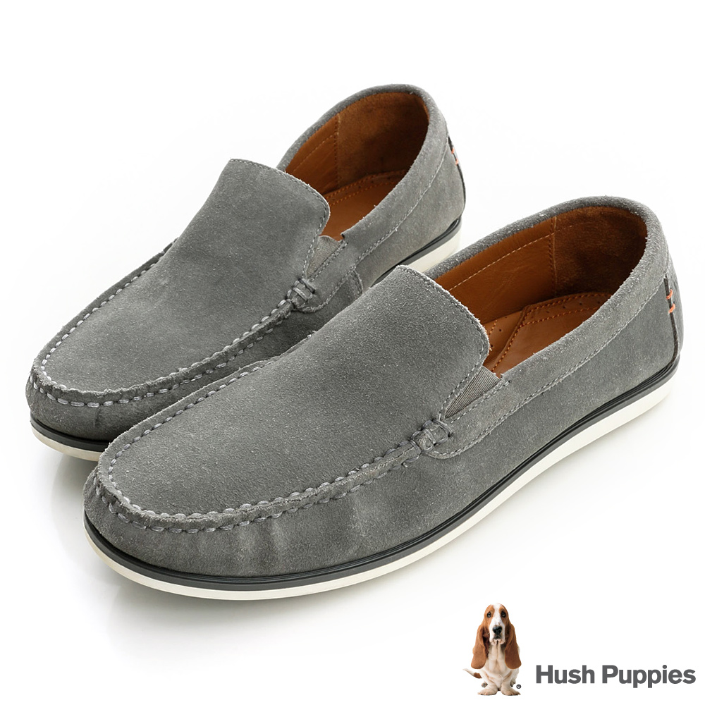 Hush Puppies 簡約時尚休閒莫卡辛鞋-灰色