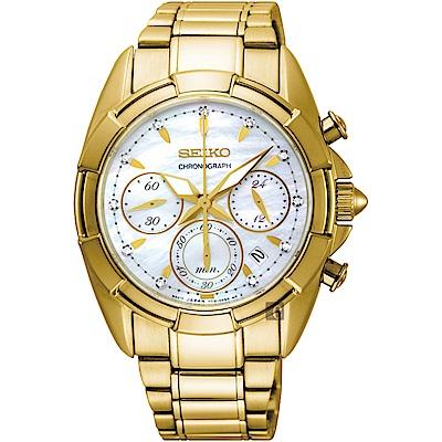 SEIKO精工 晶鑽計時手錶(SRW782P1)-珍珠貝x金/36mm