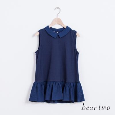 beartwo-方格翻領拼接造型背心-二色
