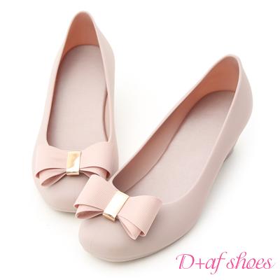 D+AF 優雅戀曲.蝴蝶結楔型果凍防水雨鞋*粉紫