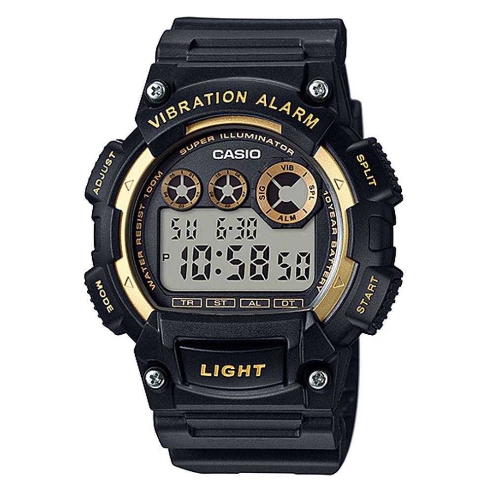 CASIO 超亮LED強悍震動數位運動錶(W-735H-1A2)-黑x金框/47mm