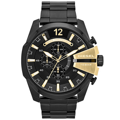 DIESEL 個性驚艷三眼運動腕錶-金字x黑/52mm
