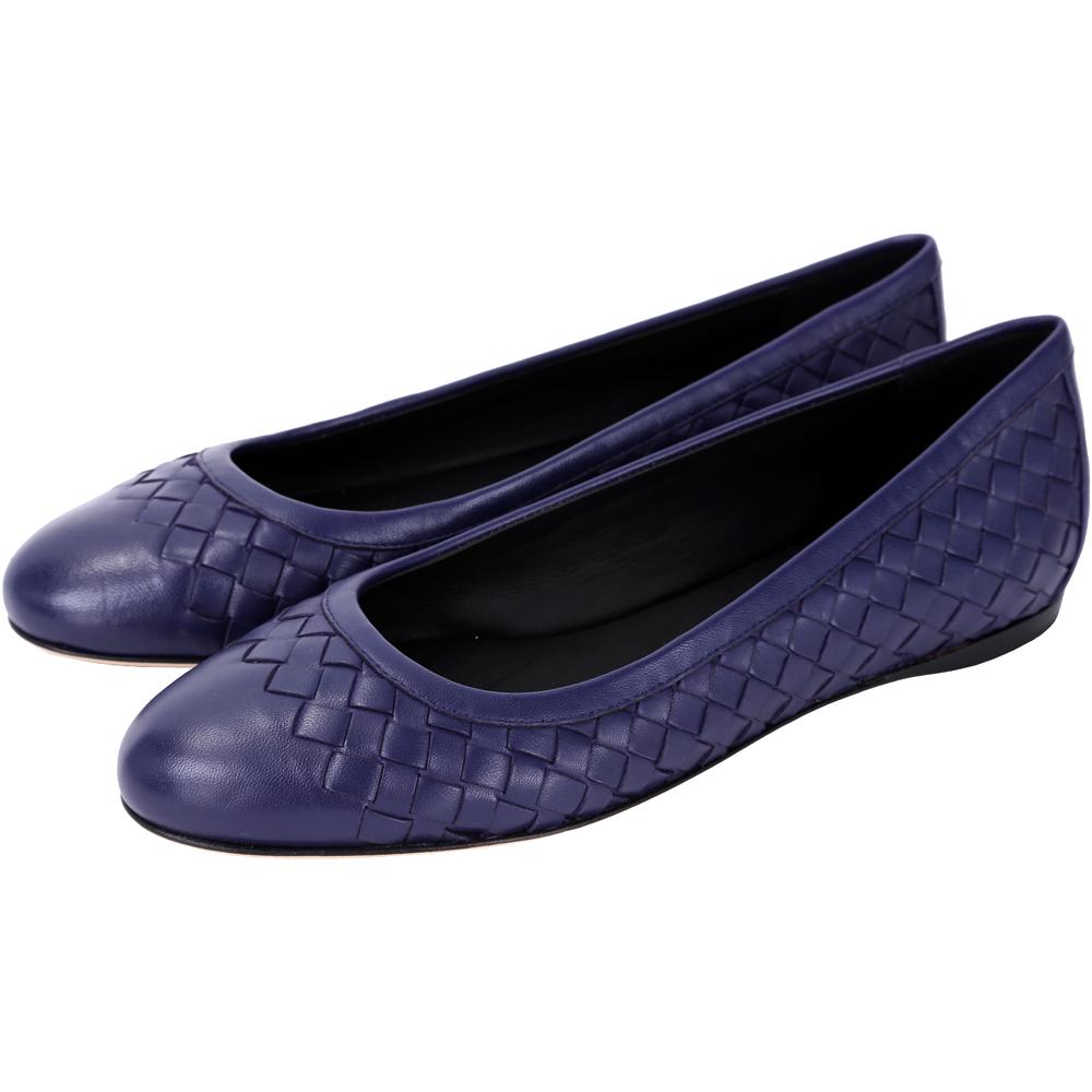 BOTTEGA VENETA NAPPA 經典編織平底鞋(藍色)