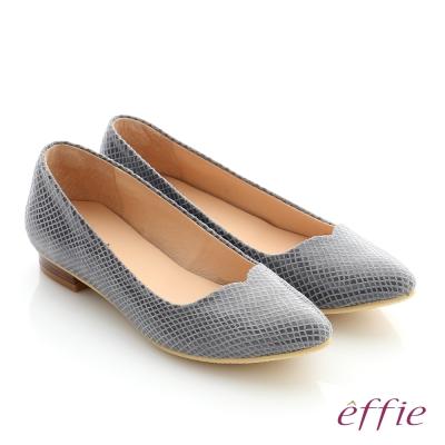effie 舒適通勤 絨面真皮優雅尖頭平底鞋 灰色