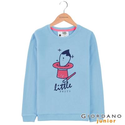 GIORDANO 童裝毛巾布圓領可愛印花T恤 - 11 藍鐘色